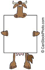 Cow Sign - This illustration depicts a cow holding a large...