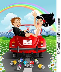 Just married - just married couple in car on mountains...