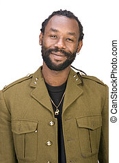 Rasta Army black man - A Black man in a Army jacket isolated...