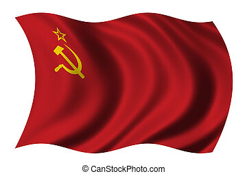 Flag of the Soviet Union waving in the wind