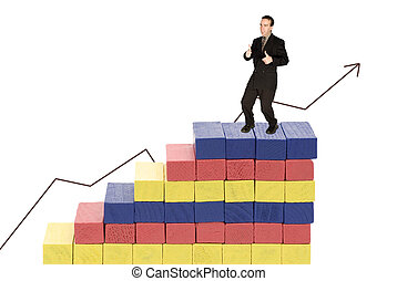 Financial Growth - A young man in a business suit at the top...
