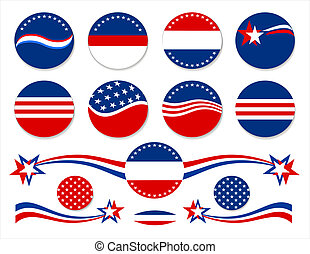 Red White & Blue Buttons - Patriotic circle backgrounds and...
