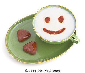 smiling coffe - a cup of white coffee with smile and two...