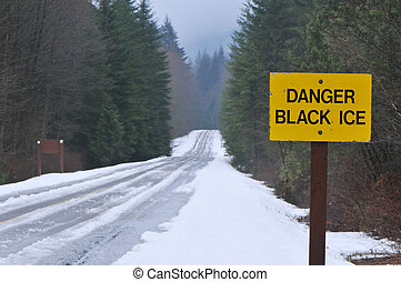 black ice - slippery road,in the mountains.