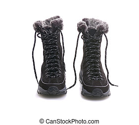 winter boots - woman black boots with lacing for winter...