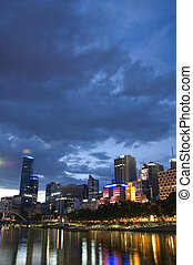 City of Melbourne at Night - The city of Melbourne,...