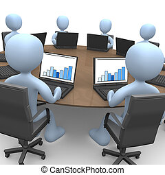 Team Meeting - 3d people sitting around a table using...