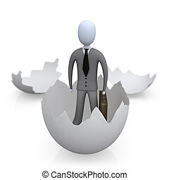 New Business - 3d person coming out of an egg shell