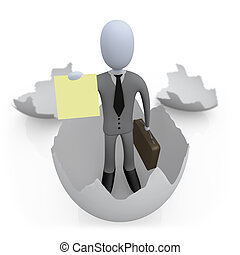 New Business - 3d business coming out of an egg shell...