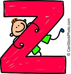 letter Z boy - happy little boy climbing over giant letter Z...