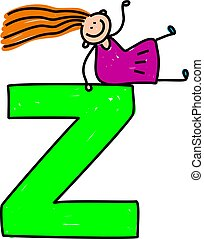 letter Z girl - happy little girl sitting on giant letter Z...
