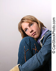 In Deep Thought - Teenage female model on a white background