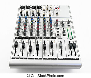 Silver sound mixer for audio recording on white background.
