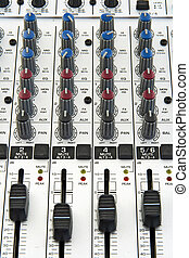 Faders of sound mixer - Faders and knobs of a sound mixer...