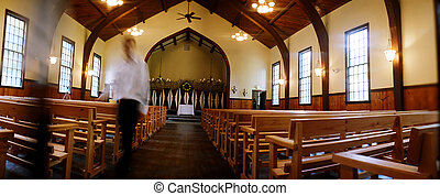 Church interior - Interior of wooden church prior to wedding...