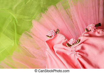 Ballet Tutu - Pink Ballet costume on a bright green...