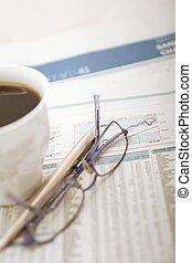financial office desk - coffee break in a financial office