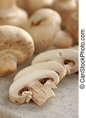 Mushrooms and Cutting Board - Fresh, Healthy Mushrooms on a...