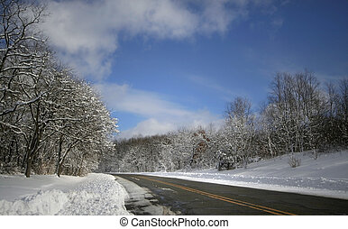 High Way In Winter Time - High way in winter time with tall...