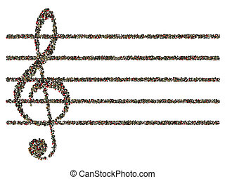 treble clef - The treble clef and musical lines are laid out...