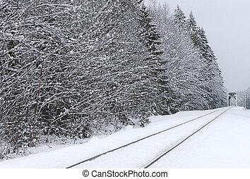 Railroad Tracks in Winter - Rural winter scene of Railroad...