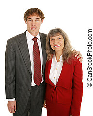 Business Mentoring - Young businessman and his mature female...