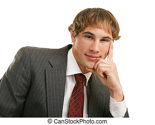 Thoughtful Young Businessman - Handsome young businessman in...