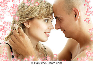 couple in love with flowers