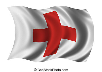 Red Cross Flag - Flag of the Red Cross waving in the wind