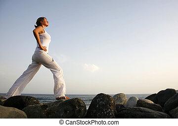 amanecer, yoga