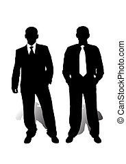 businessmen - two isolated men on white bacgroundmade from...