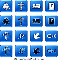 christian buttons - collection of blue square Christian...