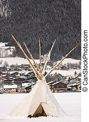 Snow-covered tipi - Skiing area in Soell (Austria)