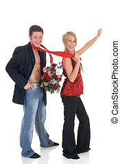 Valentine love, proposal - Two casual dressed young adults,...