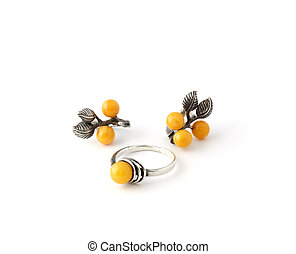 Silver ring and ear-rings with yellow stones - Little...