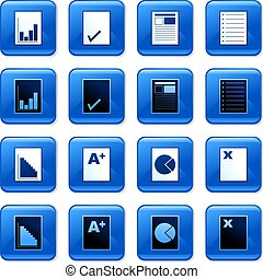 document buttons - collection of blue square document...