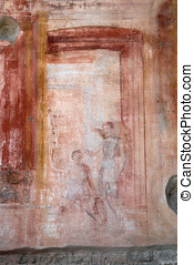 Pompeii wall art - ancient wall drawing in Pompeii