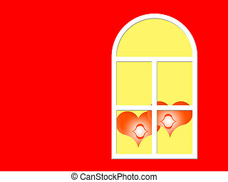 together  - Two red hearts in a window on a color background