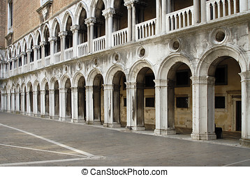 Venice, Italy - inside the Doges Palace courtyard, showing...