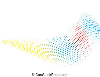 rainbow wave bend - Illustrated abstract background with a...