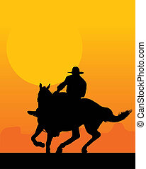 Sunset Rider - Silhouette of a lone rider against a sunset...