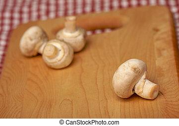 hongos, corte, tabla, y