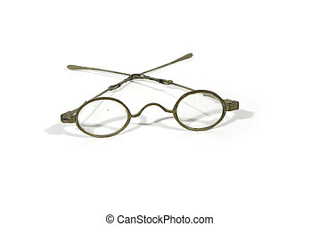 antique metal glasses - antique oval-eye metal spectacles...