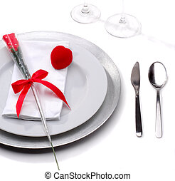 Romantic Dinner - Table Laid For A Romantic Dinner With A...