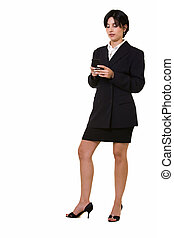 Business woman texting - Full body of a attractive brunette...