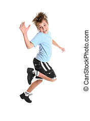 Child hopping - Hopping or skipping child showing happiness.