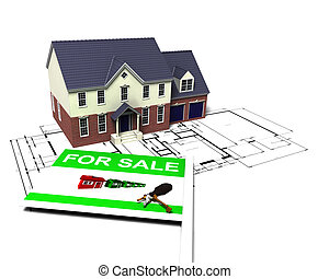 House for sale - 3D render of a house on blueprints with for...