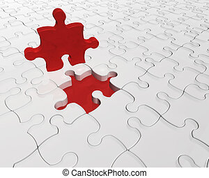 Individuality - 3D render of a jigsaw with one red piece...