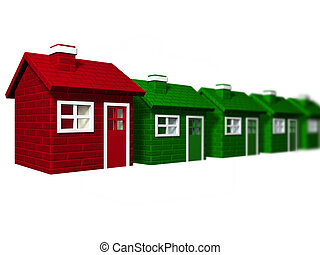 Individuality - One red house standing out from a line of...