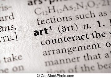 "Art - Selective focus on the word \""art\\\"". Many more..."